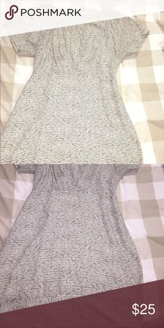 BCBGeneration White with black stripped dress White with black and lime green stripes. Key hole cut out in back. Size large. Great condition. BCBGeneration Dresses Mini