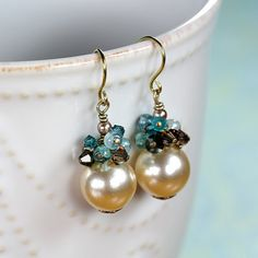 Cream Pearl Earrings Blue with Mint Brown Glass by YuniDesigns