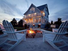 summer is on it's way- view of our dream home by the firepit