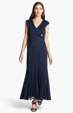 $134 T6p T10 y T16 y 8 Patra Portrait Collar Lace & Chiffon Gown (Petite) available at #Nordstrom