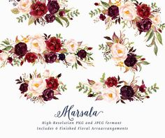 Watercolor floral Clip Art-Marsala/Individual PNG by GraphicSafari