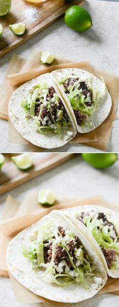 Short Rib Tacos with Lime Salted Slaw I howsweeteats.com