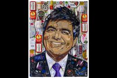 George Lopez by Jason Mecier Collage using recycled materials.