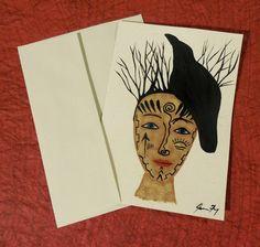 Crow Original Painting 5x7 Hemp Greeting Card  by ConsciousArtStudios