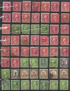 US 1898 Definitives Lot of 63 stamps # 220 -2¢ Wash, # 632 -1,# 646 -2¢ Battle