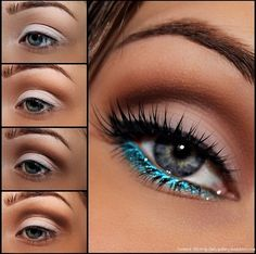 Transform your deep set eyes style with these bold makeup looks! Love the bright turquoise eyeliner on the bottom lid! Teal Eye Makeup, Bold Makeup Looks, Eye Makeup Tips, Pretty Makeup, Love Makeup, Skin Makeup, Beauty Makeup, Makeup Brushes, Turquoise Eyeliner
