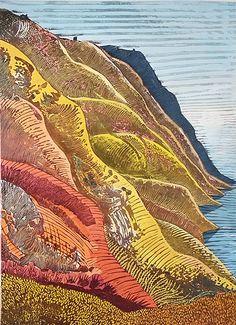 'Burning Cliff by English artist printmaker Liz Somerville. 750 x 1100 mm. Landscape Prints, Landscape Art, Landscape Paintings, Landscapes, Linocut Prints, Art Prints, Block Prints, Illustrations, Illustration Art