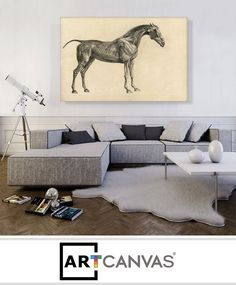 Ready-to-hang Mr Ogilvie's Bay Racehorse on a Riverbank with a Group of Cows Canvas Art Print for Sale canvas art print for sale. Canvas Art Prints, Banksy, Banksy Canvas, Canvas, Prints For Sale, Art, Art Prints For Sale, Cow Canvas, Canvas Art