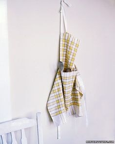 Dish towels are inexpensive and washable. They're also hemmed -- a handy shortcut when sewing this dishy apron.