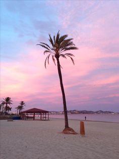 Spain, Baleares, Ibiza, En Bossa Beach during a winter sunset
