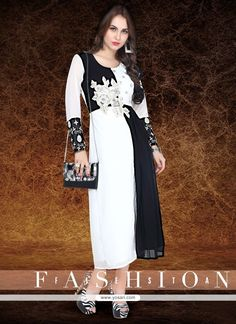 Perfect Embroidered Work Black And Off White Georgette Party Wear Kurti Model: YOKU858