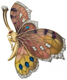 Art Nouveau butterfly brooch: gold set with diamonds and rubies. Rozert & Fischmeister, 1910, Vienna. Photo by C. Dillon, Leopold Museum, Vienna.