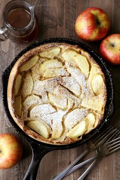 Apple Oven Pancake with Apple Cider Syrup - Completely Delicious Breakfast Time, Breakfast Recipes, Oven Pancakes, Baby Pancakes, Food Wishes, Holiday Recipes, Apple Recipes, Free Recipes, Yummy Drinks