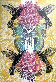 Humming Bird Lino print by Mangle Prints- Amanda Colville Linocut Prints, Art Prints, Illustration Arte, Expo, Gravure, Art Plastique, Printmaking, Print Patterns, Screen Printing