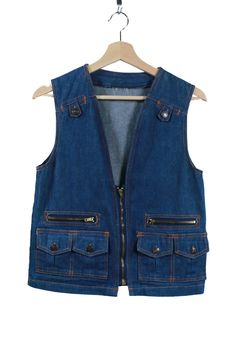 Vintage VTG VG 1970's 70's Utilitarian Zip Up Denim Vest Worker Fisherman Hipster Artist Unisex Adults Size XS Small Retro Country Cowboy by foxandfawns on Etsy