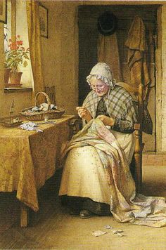 British Paintings: Charles Edward Wilson - Making a Patchwork Quilt