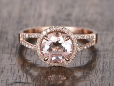 bague de fiançailles de la Morganite de 8mm or Rose par popRing Plus