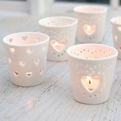 Ceramic Heart Tea Light Holder - votives & tea light holders