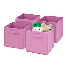 Honey Can Do 4-Pack Folding Storage Cube - Pink