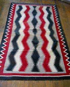 Vintage Chimayo Native American Indian Rug 50 X 82 Wool Woven Blanket Rugs Americans And