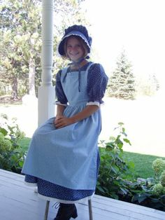 Girls Pioneer Prairie Colonial Dress Costume Blue by PioneerPieces