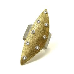 mkwind - Sterling Silver and Brass Riveted Wide Band Ring Shield Series - Astute #etsymetalteam