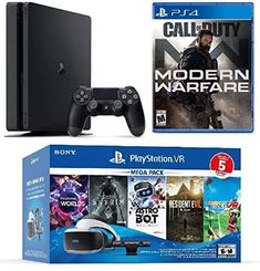 Make sure this fits by entering your model number. Included: 1 x 1TB Console, 1 x DualShock-4 Wireless Controller, Playstation VR headset, Camera, 6 Games (1 Disc Game: Call of Duty: Modern Warfare; Vouchers for 5 Amazing VR Games: Greatness awaits ASTRO Bot Rescue Mission; Skyrim VR; Resident Evil 7; Everybody's golf VR; Playstation VR Worlds) Discover a new world of play. Your heart will race. Your pupils will dilate. Your instincts will kick in and take over as you discover new worlds. This b