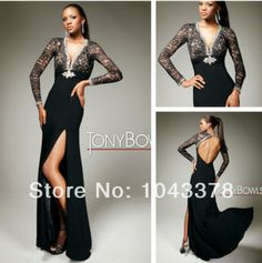 2014 free shipping new sexy Elegant Long Sleeves Black Lace and Nude Evening Dresses For Women Prom Gowns With High Slit 2014 US $149.99