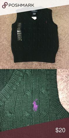 RL vest Little boys RL cable knit cotton vest. Size 2T forest green with purple pony Ralph Lauren Shirts & Tops