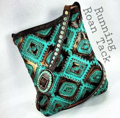 Navajo Cross Body Handbag with Veined Turquoise by Running Roan Tack
