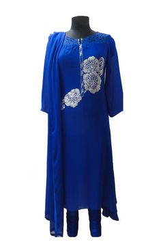 Ink blue pure georgette suit with swarovski motif in front #Indianwear