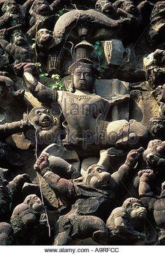 Rama on Hanuman, Banteay Samre, Angkor - Stock Image