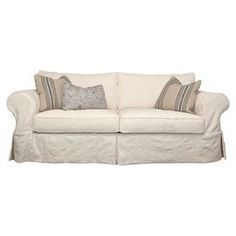 "Slipcover-style cotton sofa with foam and hypoallergenic down feather-blend cushioning. Made in the USA.  Product: SofaConstruction Material: Linen, viscose, foam, and woodColor: NaturalFeatures:  Toss pillows includedMade in the USA Dimensions: 36"" H x 84"" W x 38"" D"