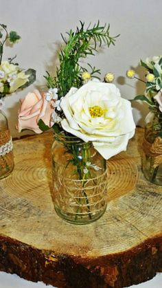 Rustic Spring Summer wedding Jar Centerpieces Flowers for jars Small Reception Decor Shabby Chic Garden Table centerpieces Meadow flowers #ad