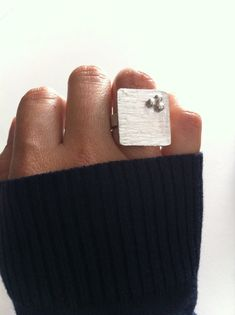 Thick silver sheet ring Square shape silver by PaolaNaviaJewelry