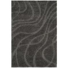 Safavieh Florida Rhythm Shag Gray/Gray Indoor Area Rug (Common: 4 x Actual: W x L) at L Natural Carpet, Dark Carpet, Shag Carpet, Rugs On Carpet, Carpets, Carpet Stair Treads, Carpet Stairs, Alternative Flooring, Modern Stairs