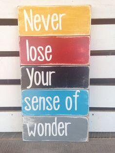 Never lose your sense of wonder painted wooden sign typography art turquoise grey black golden yellow red distressed  on Etsy, $45.00