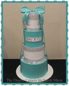 Tiffany & Co 4 tier Diaper Cake! & co & co tier cake cake blue shower gift usable girl Tiffany Theme, Tiffany Party, Tiffany And Co, Tiffany Blue, Baby Girl Shower Themes, Baby Shower Cakes, Baby Boy Shower, Pamper Cake, Tiffany Baby Showers