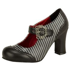 3 1/2 Inch Chunky Heel Grey and Black Pin Striped Mary Jane Steampunk Pump