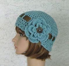 Women's Ladies Teen Aqua Floral Cloche Hat by CrochetHatsForYou,