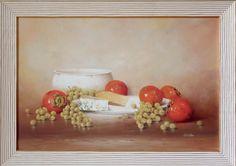 Kaki Käseteller und Trauben (weiss)  60 x 40