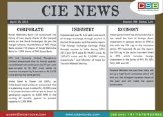 CSB CIE News: (April 28, 2015) Bringing to you important news and key highlights from corporate, industry, and economy. Don't miss the updates! To read more, visit http://www.csbhouse.com #stocks #globalnews #researchreports