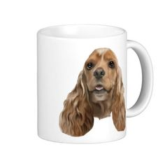 Cute Blonde Cocker Spaniel Dog Portrait Print Coffee Mug