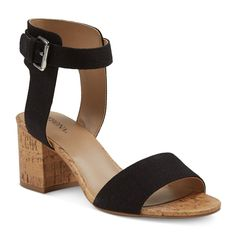 Women's Talia Quarter Strap Cork Heel Sandals - Denim 9.5, Black
