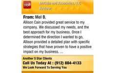Allison Cain provided great service to my company. We discussed my needs, and the best...