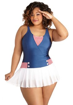 All Adored! One Piece in Plus Size. Set sail for celebrated style in this covet-worthy and ModCloth-exclusive one piece from Fables by Barrie! #multiNaN