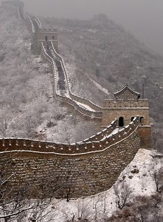 Snow in The Great Wall of China - this wall is beyond comprehension until you actually see it, then it's even more so. Climbing it has to take you back thousands of years and contemplate how in the world was this possible.