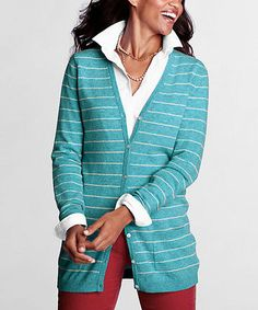 Take a look at this Aqua Heather Merino Wool-Blend V-Neck Cardigan - Petite & Women by Lands' End on #zulily today!