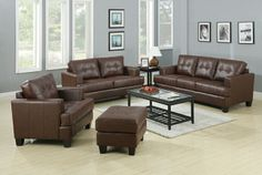 """2 pc Samuel collection dark brown bonded leather sofa and love seat set with tufted seat and backs.  Chair and ottoman also available separately. These are upholstered with a bonded leather with double stitching and attached seat cushions , made with hardwood solid frames and webbed back, with sinuous spring base and pocket coil cushions with wood legs. Sofa measures 86"""" x 38"""" x 36"""" H. Love seat measures 67 1/2"""" x 38"""" x 36"""" H. Optional chair measures 42"""" x 38"""" x 36"""" H. SKU CST504071-72"""