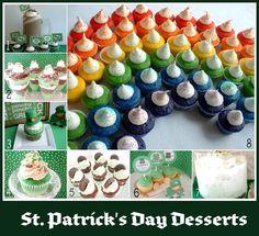 "From Hoosier Homemade, links to the following ""St. Patrick's Day Desserts"" -- 1. Irish Cream Pie Cupcakes with Free Printables; 2. Irish Trifles; 3. St. Patrick's Day Cupcakes; 4. Luck of the Irish Cupcakes; 5. Thin Mint Cupcakes; 6. St. Patrick's Day Cupcakes; 7. Pistachio Fluff; 8. Rainbow Cupcakes and Rainbow Ice Cream."